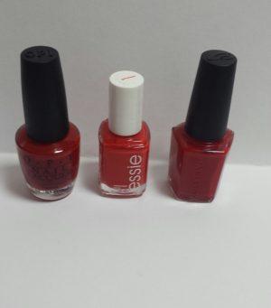 赤ポリッシュ塗り比べ